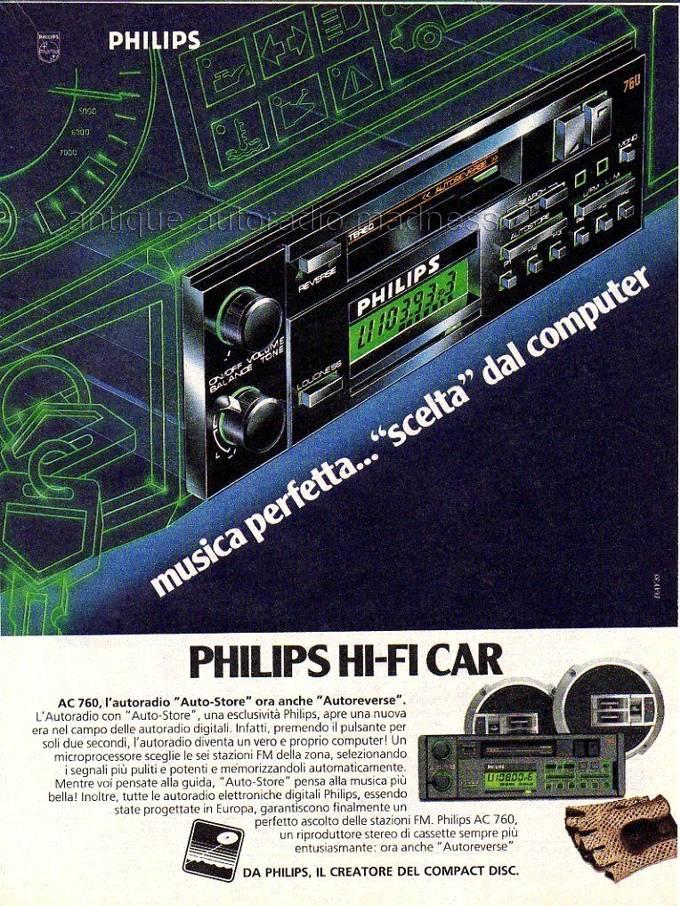 Publicitéitalienne PHILIPS car stereo modele AC760 - année 1985